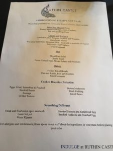 Ruthin Castle Menu - New Years Day 2016