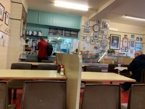 The inside of the Regency Cafe in That London. A classic greasy spoon cafe, serving a great Full English breakfast.